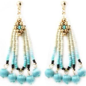 Jewelry - NEW Thread Ball with Beads Tassel Earrings
